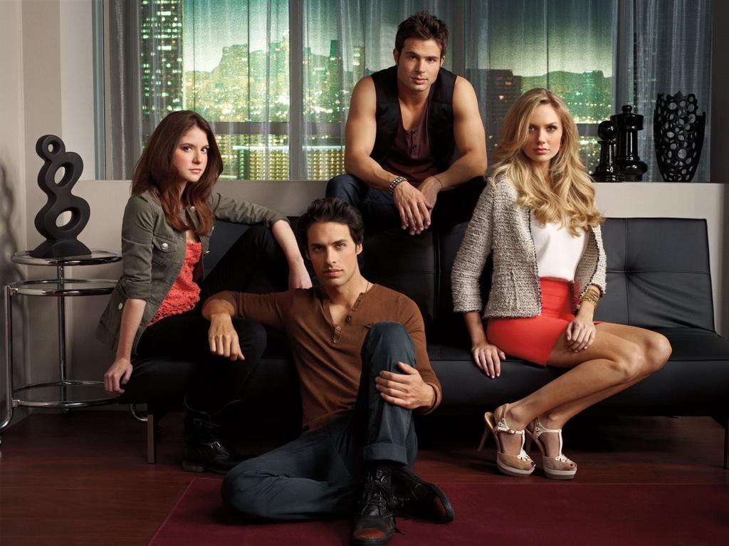 HOLLYWOOD HEIGHTS L-R: Loren (Brittany Underwood), Tyler (Justin Wilczynski), Eddie (Cody Longo), and Chloe (Melissa Ordway)
