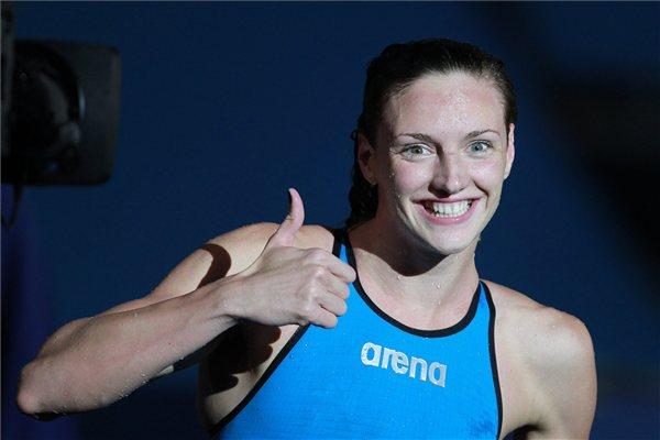 Hosszú Katinka a női 200 méteres vegyes úszás döntője után, miután 2 _07.92 perces idővel megnyerte a versenyt a barcelonai vizes világbajnokságon 2013. július 29 foto kovacs aniko