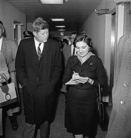 Georgetown, Washington, DC, USA --- 12/1/1960-Washington, DC: UPI reporter Helen Thomas interviews President-elect John Kennedy at Georgetown University Hospital, during Kennedy's visit to his wife Jacqueline. --- Image by © Bettmann/CORBIS