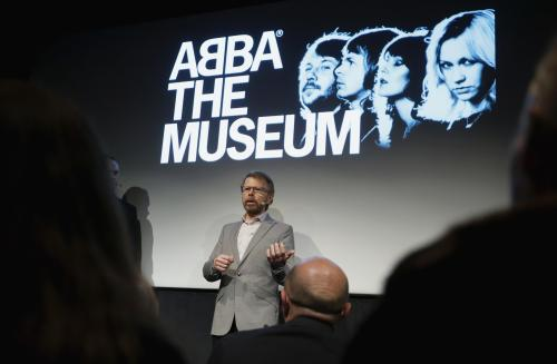 Former ABBA member Bjorn Ulvaeus addresses a news conference at the new