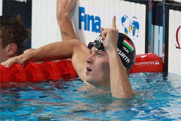 Barcelona, 2013. augusztus 2. Gyurta Dániel a férfi 200 méteres mellúszás döntője után a barcelonai vizes világbajnokságon 2013. augusztus 2-án. A magyar úszú megnyerte a versenyt. MTI Fotó: Kovács Anikó