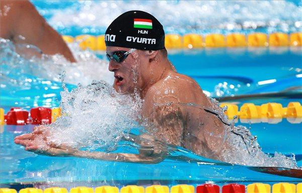 2013. augusztus 1. Gyurta Dániel a férfi 200 méteres mellúszás elődöntőjében a barcelonai vizes világbajnokságon 2013. augusztus 1-jén. A címvédő magyar versenyző a legjobb idővel jutott a döntőbe. MTI Fotó: Kovács Anikó