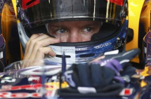 Red Bull Formula One driver Vettel waits during the second practice session of the Belgian F1 Grand Prix in Spa Francorchamps