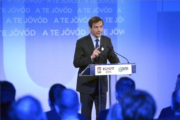 Bajnai Gordon, az Együtt-PM szövetség vezetője beszédet mond a szövetség programbemutató rendezvényén Budapesten, a Dürer Rendezvényházban 2014. január 10-én. MTI Fotó: Beliczay László