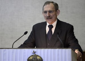 Pintér Sándor belügyminiszter mond beszédet a minisztérium évértékelő értekezletén a tárca épületében 2014. január 28-án. MTI Fotó: Kovács Tamás