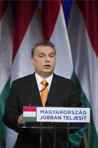 Budapest, 2014. február 16. Orbán Viktor miniszterelnök évértékelő beszédét tartja a budapesti Millenáris Teátrumban 2014. február 16-án. MTI Fotó: Koszticsák Szilárd