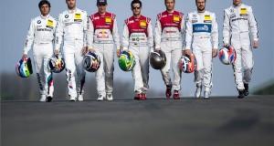 A kanadai Bruno Spengler és a német Martin Tomczyk, a BMW, a svéd Mattias Ekström, a német Mike Rockenfeller és Timo Scheider, az Audi csapat versenyzői, valamint Gary Paffett és Paul di Resta, a Mercedes csapat brit pilótái (b-j) sétálnak az aszfalton a Hungaroringen tartott német túraautó-bajnokság (DTM) tesztnapján, Mogyoródon 2014. április 1-jén. MTI Fotó: Marjai János
