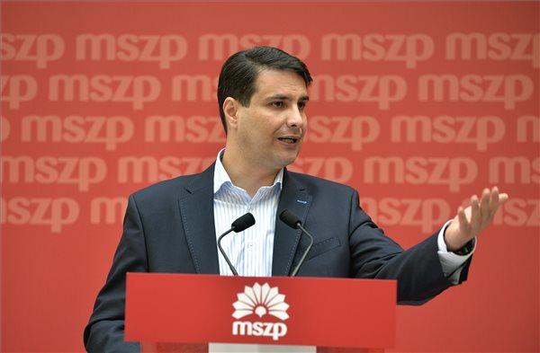 Mesterházy Attila, a Magyar Szocialista Párt elnöke a testület ülése után tartott sajtótájékoztatón a párt Jókai utcai székházában 2014. április 12-én. MTI Fotó: Máthé Zoltán