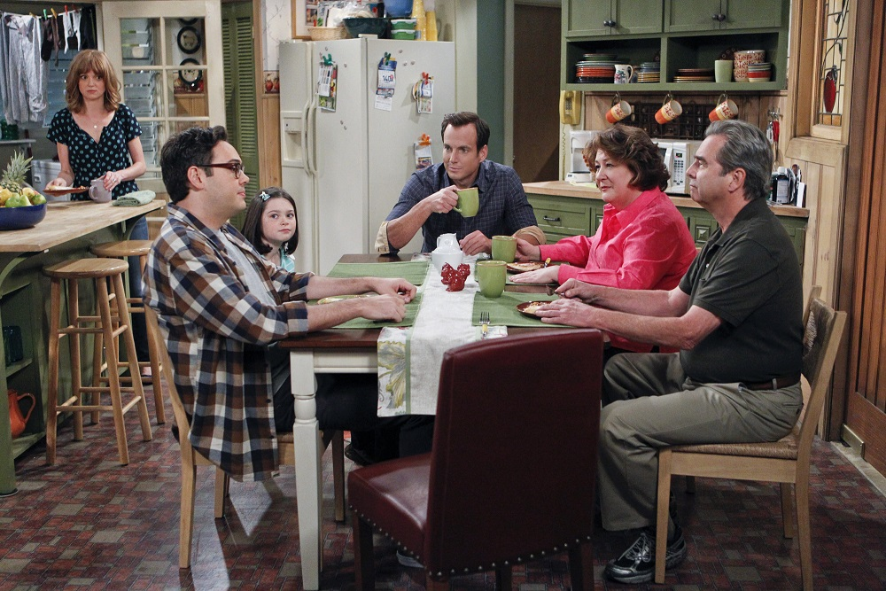 """""""You're in Trouble"""" – Pictured: Jayma Mays as Debbie, Nelson Franklin as Adam, Eve Moon as Mikayla, Will Arnett as Nathan Miller, Margo Martindale as Carol Miller, and  Beau Bridges as Tom Miller. When Nathan learns why Debbie is Tom's favorite child instead of him, he decides it's time to fill his parents in on some of Debbie's childhood secrets, on THE MILLERS, Thursday, Dec. 5 (8:31-9:01 PM, ET/PT) on the CBS Television Network. Photo: Sonja Flemming/CBS ©2013 CBS Broadcasting, Inc. All Rights Reserved."""