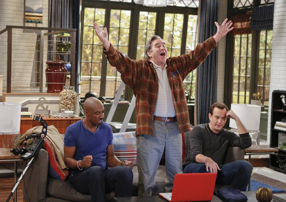 """""""You Betcha"""" – Pictured: J.B. Smoove as Ray, Beau Bridges as Tom Miller, and Will Arnett as Nathan Miller. Nathan asks Tom to spend the weekend with him in the hopes of finding something they have in common.  Also, while Debbie and Adam are out of town at a vegetarian convention, Carol stays with Mikayla and accidentally turns her upraising upside down, on THE MILLERS Thurs. Feb. 27 (8:31-9:01 PM, ET/PT) on the CBS Television Network. Photo: Cliff Lipson/CBS ©2014 CBS Broadcasting, Inc. All Rights Reserved."""