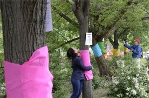 Egy nő átölel egy krepp-papírral körbetekert fát a Budapesti Városvédők Egyesülete, a Civilzugló Egyesület, a Levegő Munkacsoport és a Védegylet Fogadj örökbe egy fát, egy focipályát! címmel rendezett demonstrációján, amelyen  a Városliget beépítése ellen tüntettek 2014. május 17-én. MTI Fotó: Soós Lajos