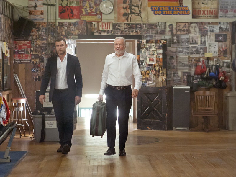 Liev Schreiber as Ray Donovan and Jon Voight as Mickey Donovan in Ray Donovan (Season 2, Episode 1). - Photo:  Suzanne Tenner/SHOWTIME - Photo ID:  RayDonovan_201_0835.R