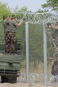 Katonák NATO-drótot rögzítenek a kerítés tetejére az ideiglenes biztonsági határzár 175 méteres mórahalmi mintaszakaszán a magyar-szerb határon 2015. július 18-án. MTI Fotó: Kelemen Zoltán Gergely