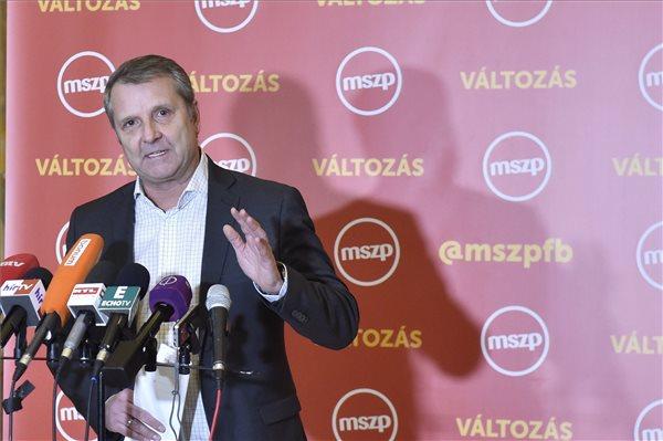 """Molnár Gyula, az MSZP elnöke sajtótájékoztatót tart Reagálás a """"Putyin-Orbán találkozóra"""" címmel az Országgyűlés Irodaházában 2017. február 2-án. MTI Fotó: Máthé Zoltán"""