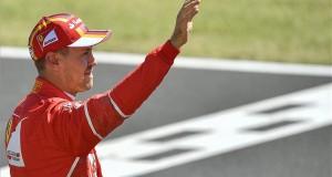 Az első helyen végzett Sebastian Vettel, a Ferrari német versenyzője a Forma-1-es Magyar Nagydíj időmérő edzésének végén a mogyoródi Hungaroringen 2017. július 29-én. MTI Fotó: Czeglédi Zsolt