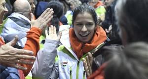 Jászapáti Petra rövidpályás gyorskorcsolyázó érkezik a magyar téli olimpiai csapat fogadási ünnepségére a Gyakorló Jégcsarnokba 2018. február 25-én. MTI Fotó: Kovács Tamás
