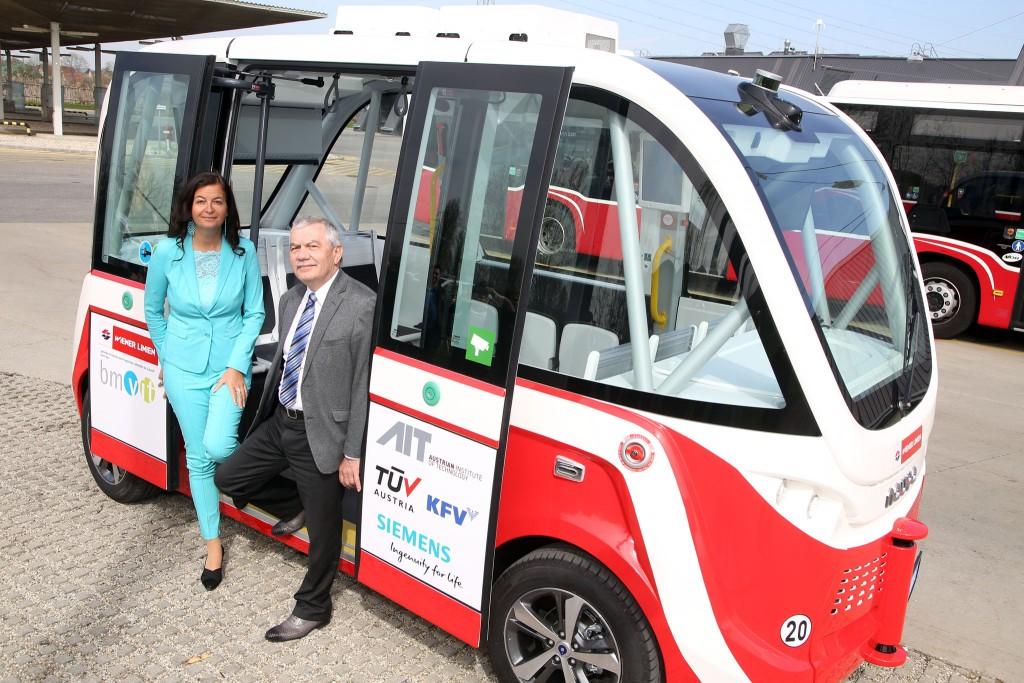 selbstfahrender Elektrobus der Wiener Linien