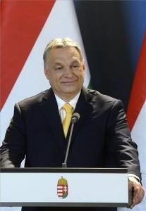 Orbán Viktor miniszterelnök nemzetközi sajtótájékoztatót tart az április 8-i országgyűlési képviselő-választással kapcsolatban az Országházban 2018. április 10-én. MTI Fotó: Soós Lajos