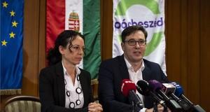 Karácsony Gergely és Szabó Tímea, a Párbeszéd társelnökei sajtótájékoztatót tartanak a párt tisztújító taggyűlése után Budapesten, az OKISZ Inkubátorházban 2018. november 11-én. MTI/Mónus Márton