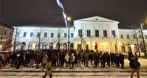 Kormányellenes tüntetéses Debrecenben a Piac utcában 2019. január 5-én. MTI/Czeglédi Zsolt