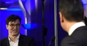 Karácsony Gergely, a Párbeszéd (b) és Horváth Csaba, az MSZP jelöltje a baloldali főpolgármester-jelölti előválasztás keretében tartott vitán a budapesti Danubius Hotel Flamencóban 2019. január 20-án. MTI/Bruzák Noémi
