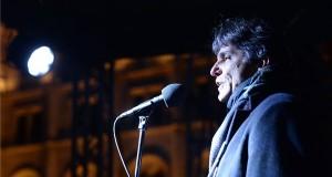 Szűcs Tamás, a Pedagógusok Demokratikus Szakszervezetének (PDSZ) elnöke beszél a Kossuth téri kormányellenes tüntetésesen 2019. január 5-én. MTI/Balogh Zoltán