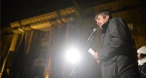 Hadházy Ákos független képviselő felszólal az Ismeretlen tettesek tüntetése címmel meghirdetett ellenzéki demonstráción Budapesten, a Legfőbb Ügyészség épületénél 2019. január 23-án. MTI/Balogh Zoltán