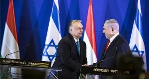 A Miniszterelnöki Sajtóiroda által közreadott képen Orbán Viktor miniszterelnök (b) és Benjámin Netanjahu izraeli kormányfő sajtótájékoztatója Jeruzsálemben 2019. február 19-én. MTI/Miniszterelnöki Sajtóiroda/Szecsődi Balázs