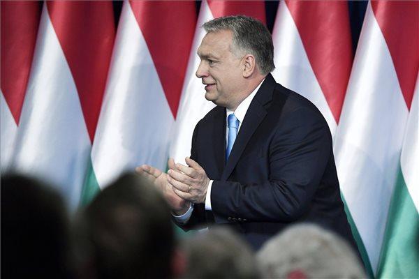 Orbán Viktor miniszterelnök hagyományos évértékelő beszéde után a Várkert Bazárban 2019. február 10-én. MTI/Koszticsák Szilárd
