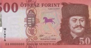 Az új 500 forintos bankjegy előoldali képe