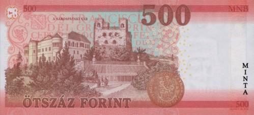 Az új 500 forintos bankjegy hátoldali képe Forrás: mnb.hu