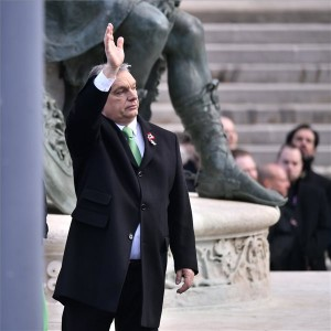 Orbán Viktor miniszterelnök az 1848/49-es forradalom és szabadságharc emléknapja alkalmából tartott állami ünnepségen a Múzeumkertben 2019. március 15-én. MTI/Szigetváry Zsolt