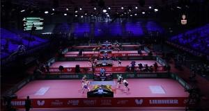 Versenyzők a budapesti asztalitenisz-világbajnokság vegyes párosok versenyének selejtezőjében a Hungexpo G pavilonjában 2019. április 21-én. MTI/Illyés Tibor