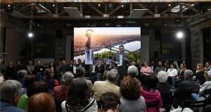 Karácsony Gergely, az MSZP és a Párbeszéd közös főpolgármester-jelöltje a Miért kell és hogyan lehet elérni a változást Budapesten? című kampányindító rendezvényén, a budapesti Anker't romkocsmában 2019. április 13-án. MTI/Koszticsák Szilárd