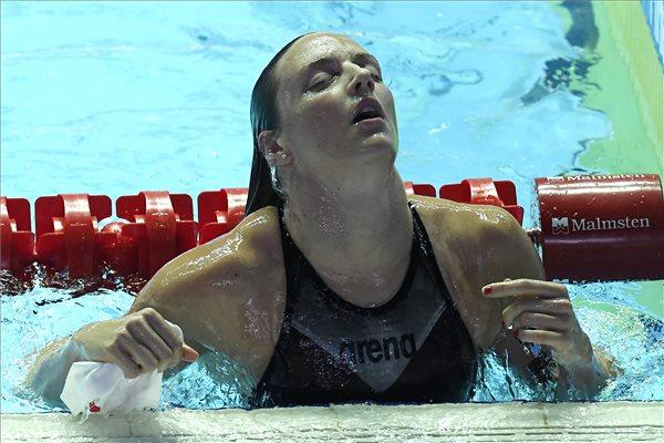 Hosszú Katinka a női 200 méteres vegyesúszás elődöntője után a 18. vizes világbajnokságon a dél-koreai Kvangdzsuban 2019. július 21-én. A szám olimpiai bajnoka és világcsúcstartója 2:07.17-es idővel ért célba. MTI/Kovács Tamás