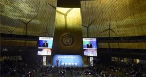 Áder János köztársasági elnök felszólal az ENSZ-klímacsúcson a világszervezet New York-i székházában 2019. szeptember 23-án. Áder János Magyarország Virtuális erőmű programját ajánlotta a csúcs résztvevőinek figyelmébe felszólalásában. Az éghajlatváltozással foglalkozó csúcsértekezleten 66 állam- és kormányfő - köztük Áder János köztársasági elnök - vesz részt. MTI/Bruzák Noémi