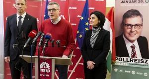 """Nemény András, Szombathely polgármestere, a Baloldali Önkormányzati Közösségek (BÖK) elnöke, Pollreisz Balázs, az MSZP, a DK, a Jobbik, a Momentum és az LMP győri polgármesterjelöltje, valamint Kunhalmi Ágnes, az MSZP választmányi elnöke (b-j) sajtótájékoztatót tart """"Tiszta várost, tiszta közéletet Győrben is!"""" címmel a győri MSZP-székházban 2020. január 25-én, egy nappal az időközi polgármester-választás előtt. MTI/Krizsán Csaba"""
