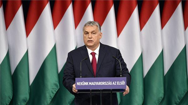 Orbán Viktor miniszterelnök hagyományos évértékelő beszédét tartja a Várkert Bazárban 2020. február 16-án. MTI/Szigetváry Zsolt